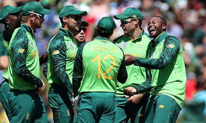 South Africa players celebrating taking a wicket