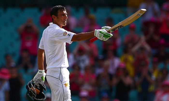 Younis Khan celebrates after reaching his century