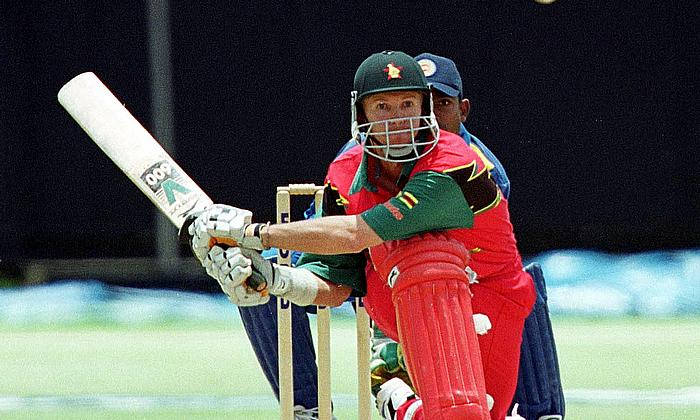 Zimbabwe captain Andy Flower prepares to reverse sweep