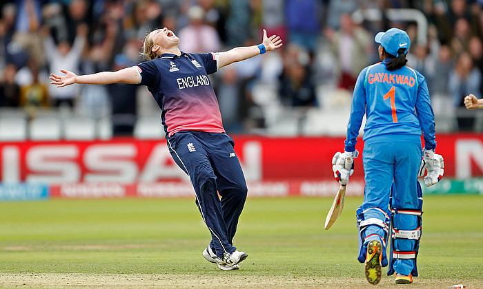 England's Anya Shrubsole celebrates bowling out India's Rajeshwari Gayakwad to win the World Cup