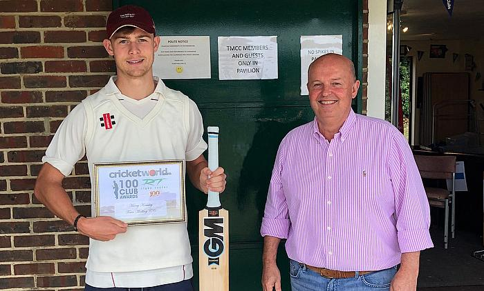 Harry Kemsley (Town Malling CC) receives Cricket World Rigby Taylor 100 Club Award from Alastair Symondson