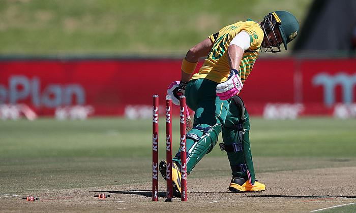 South Africa's Faf du Plessis losses his wicket