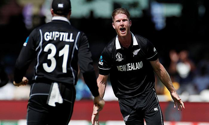 New Zealand's James Neesham celebrates a wicket