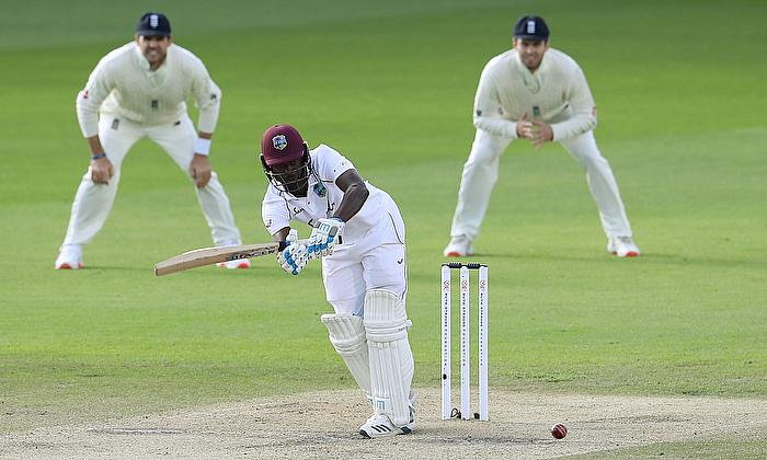 West Indies' Kemar Roach in action