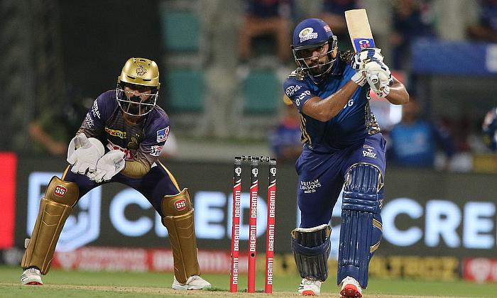 Rohit Sharma captain of Mumbai Indians plays a shot