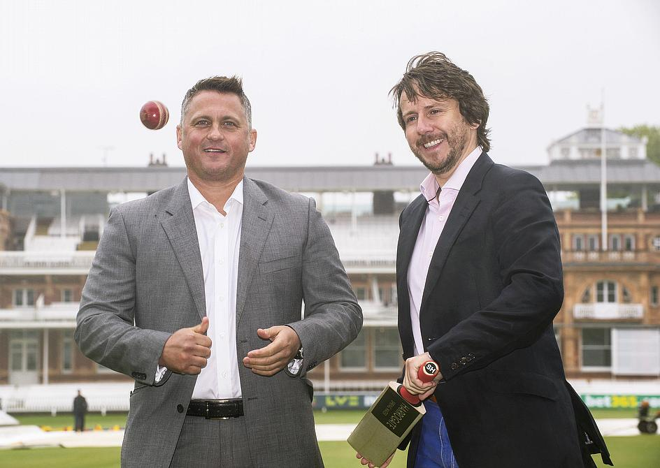 Darren Gough and Harrogate Spring Water MD James Cain launch the partnership at Lord's