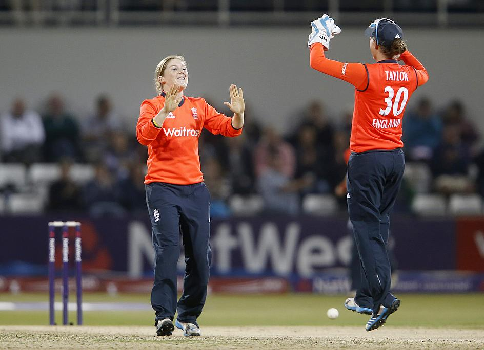 Heather Knight celebrates a wicket