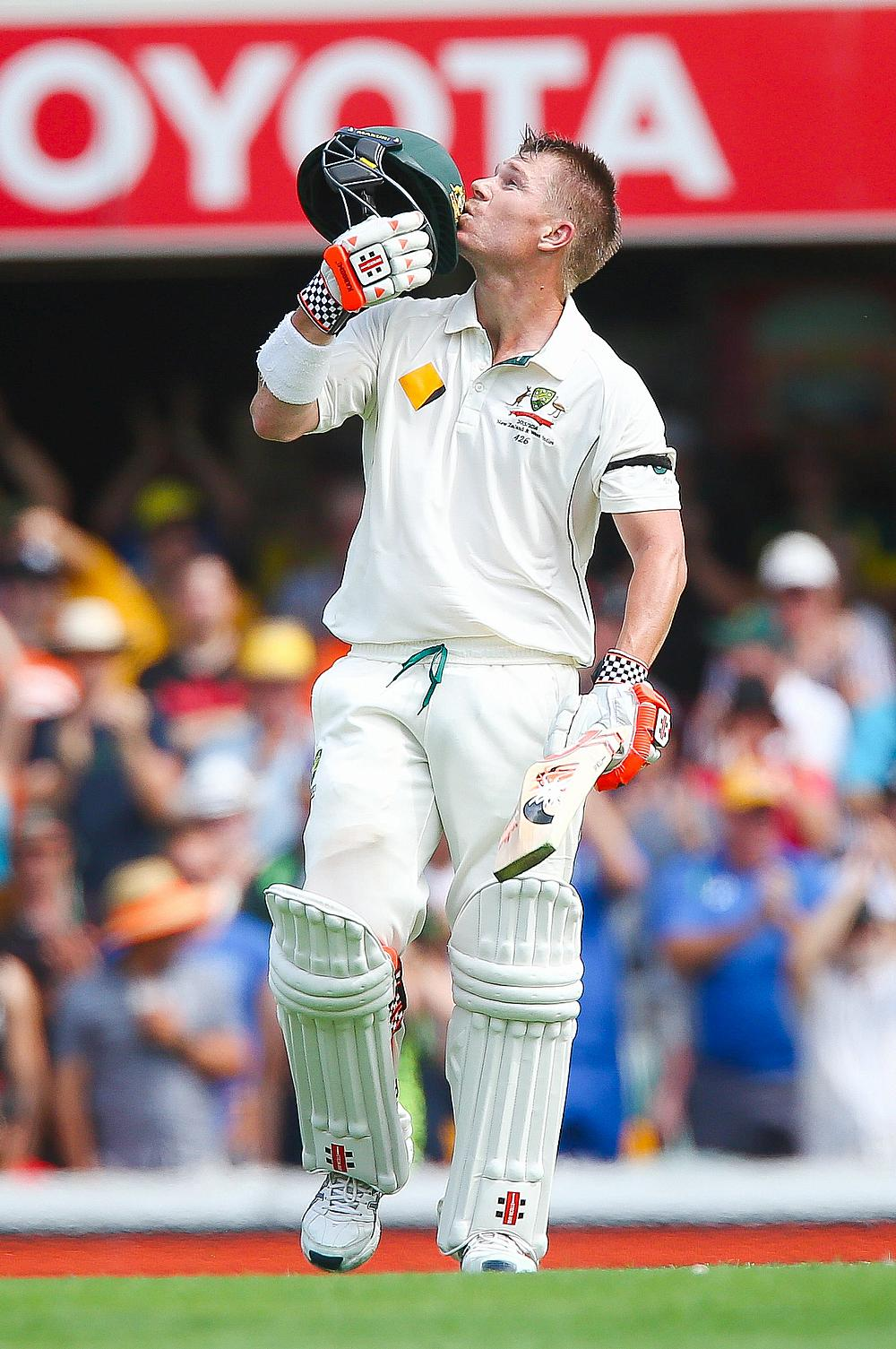 David Warner celebrating his century in the first innings of the first Test against New Zealand in Brisbane.