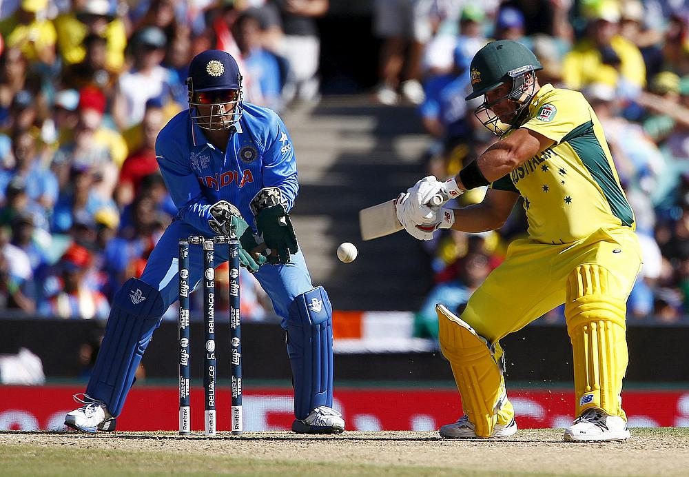 MS Dhoni in action against Australia