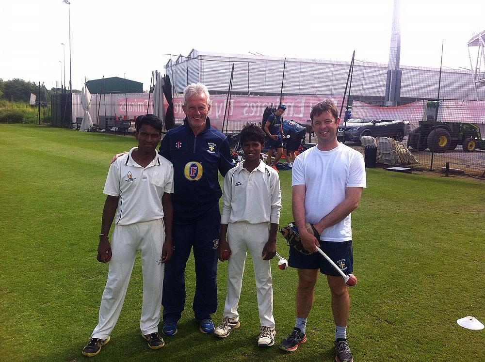 Rupesh and Prajwal with Geoff Cook and Jonny Windows at Durham CCC