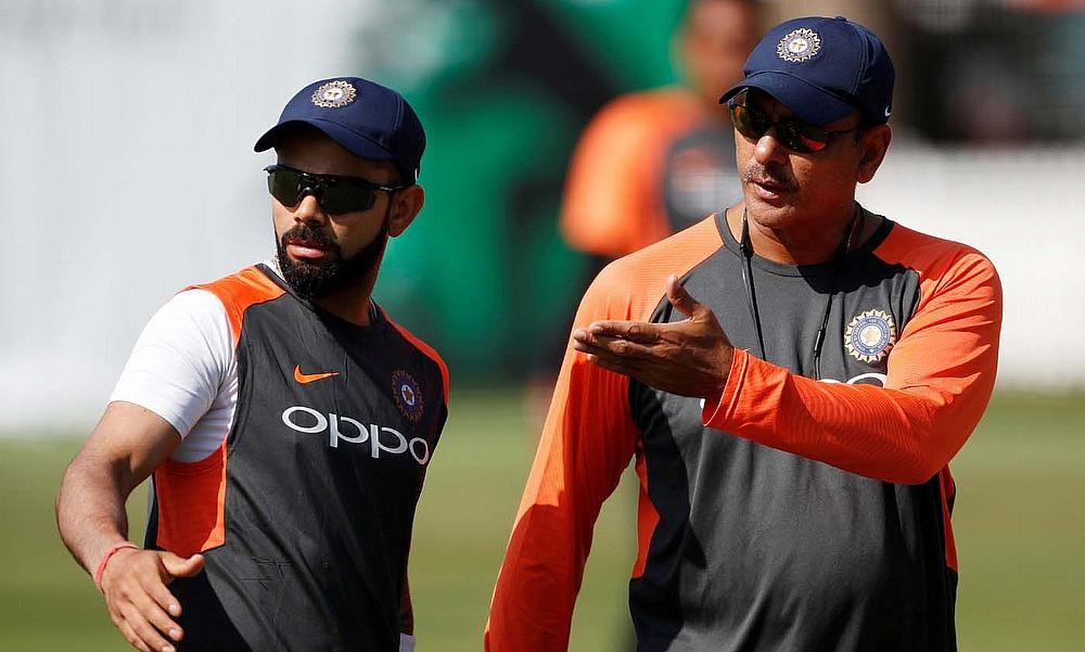 Ravi Shastri and Virat Kohli during nets