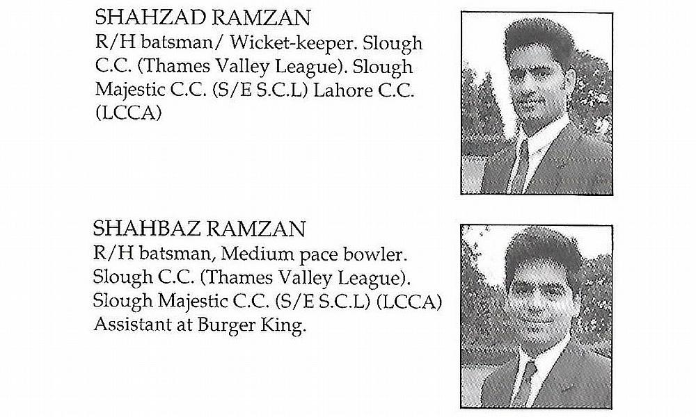 The Twins - Introductry notes reversed - SESCL Pakistan tour 1992
