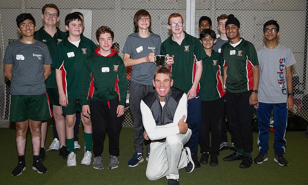 Shane Warne with participants of the Lord's Taverners Super1s disability cricket programme which has announced an £800,000 partnership to support the