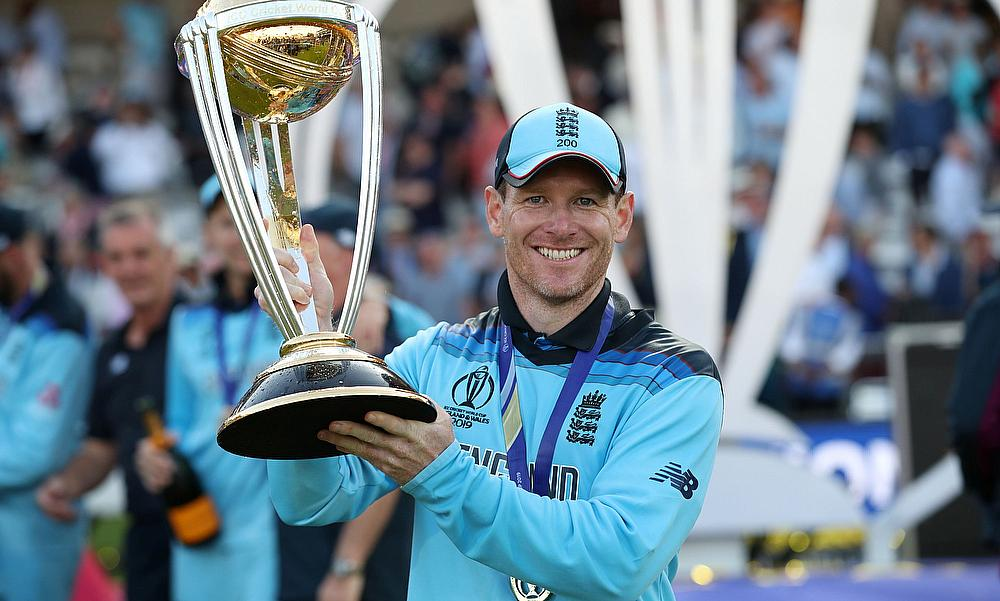 Eoin Morgan celebrates winning the world cup