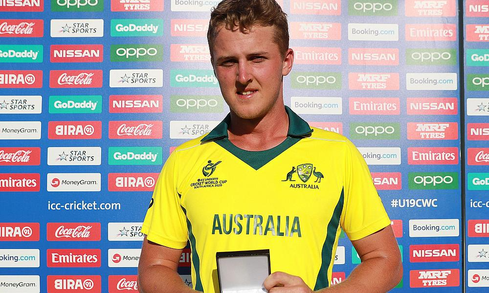 Connor Sully of Australia pictured with the Player of the Match award