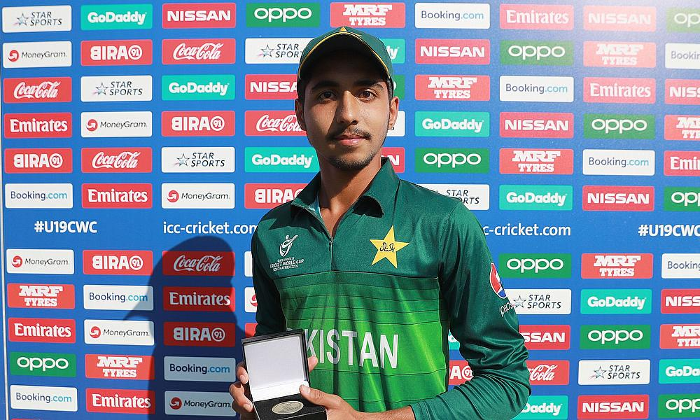 Mohammad Huraira of Pakistan pictured with the 'Player of the Match' award after the ICC U19 Cricket World Super League Quarter Final match between Af