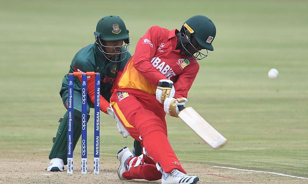Tadiwanashe Marumani of Zimbabwe during the ICC U19 Cricket World Cup Group C match between Bangladesh and Zimbabwe