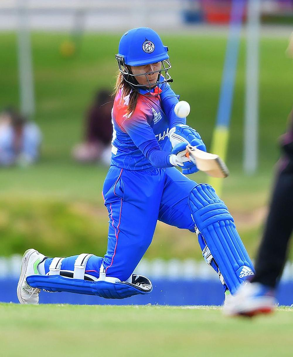Chanida Sutthiruang of Thailand during the Match: ICC Women's T20 Cricket World Cup warm up match between New Zealand and Thailand at Karen Rolton Ova