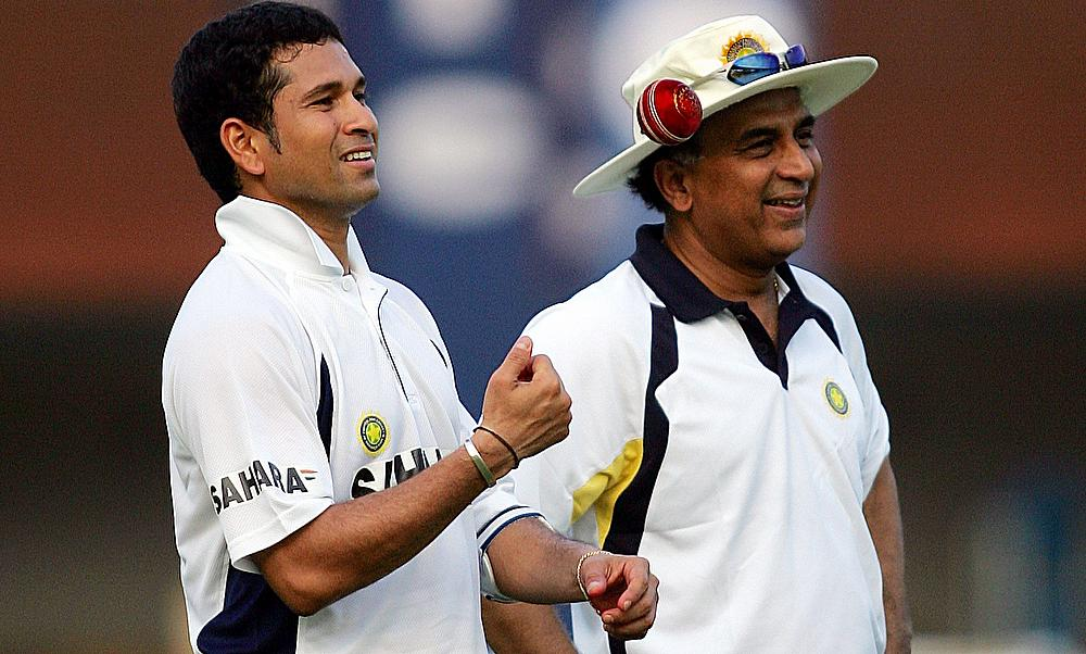 India's Sachin Tendulkar and Sunil Gavaskar