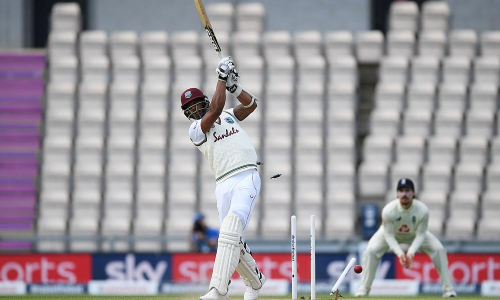 West Indies' Shannon Gabriel is bowled out by England's Mark Wood