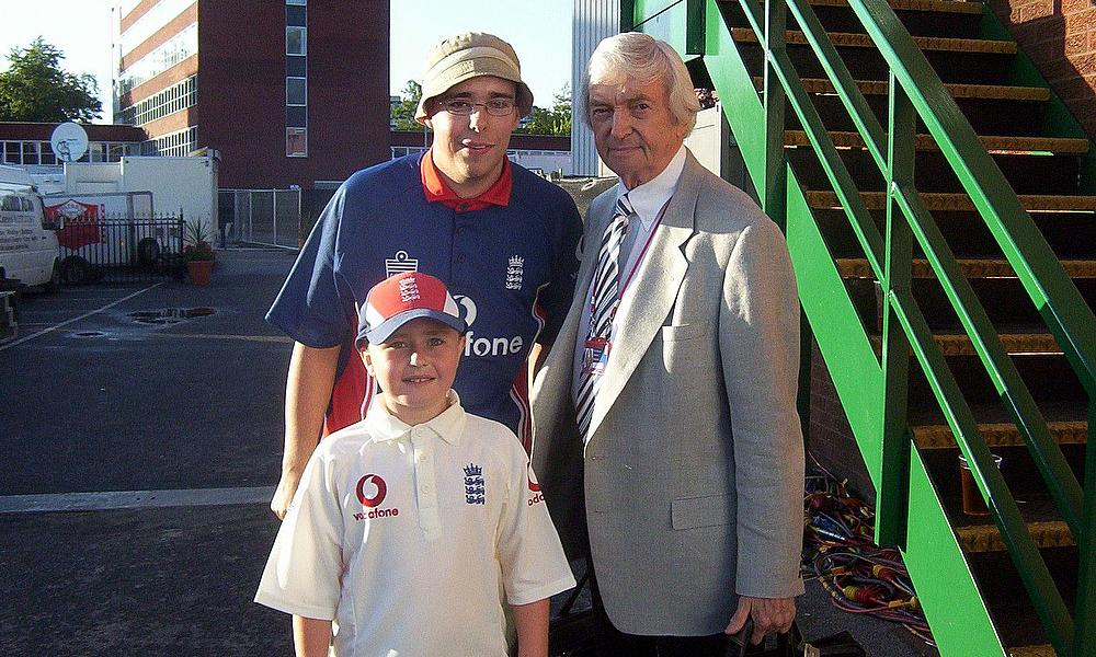 Richie Benaud photograph was taken after the close of the third day's play of the Third Ashes Test at Old Trafford, Saturday 13th August 2005