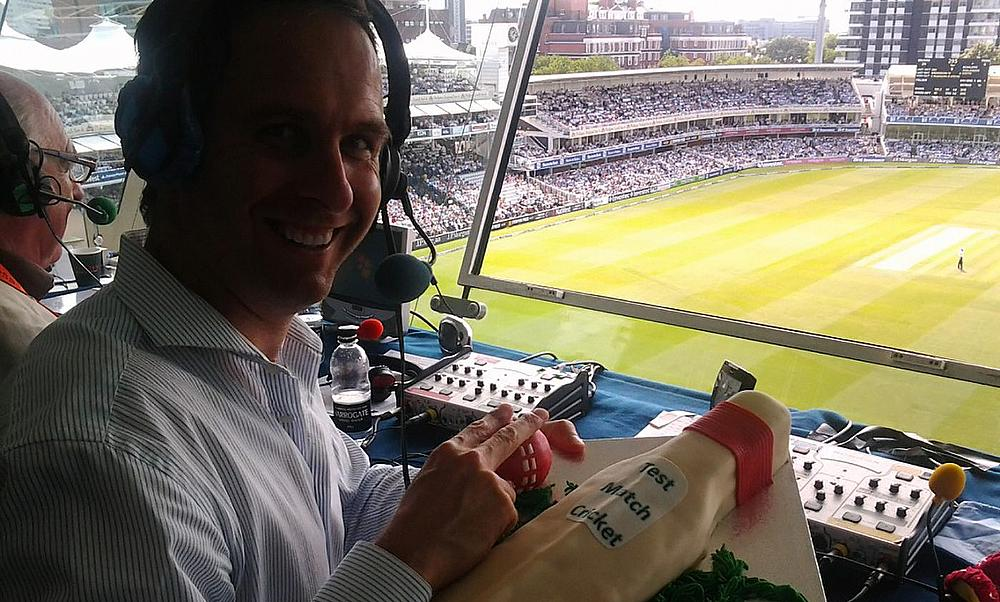 Michael Vaughan with the cake we took to the Third Day of the Third Test between England and South Africa