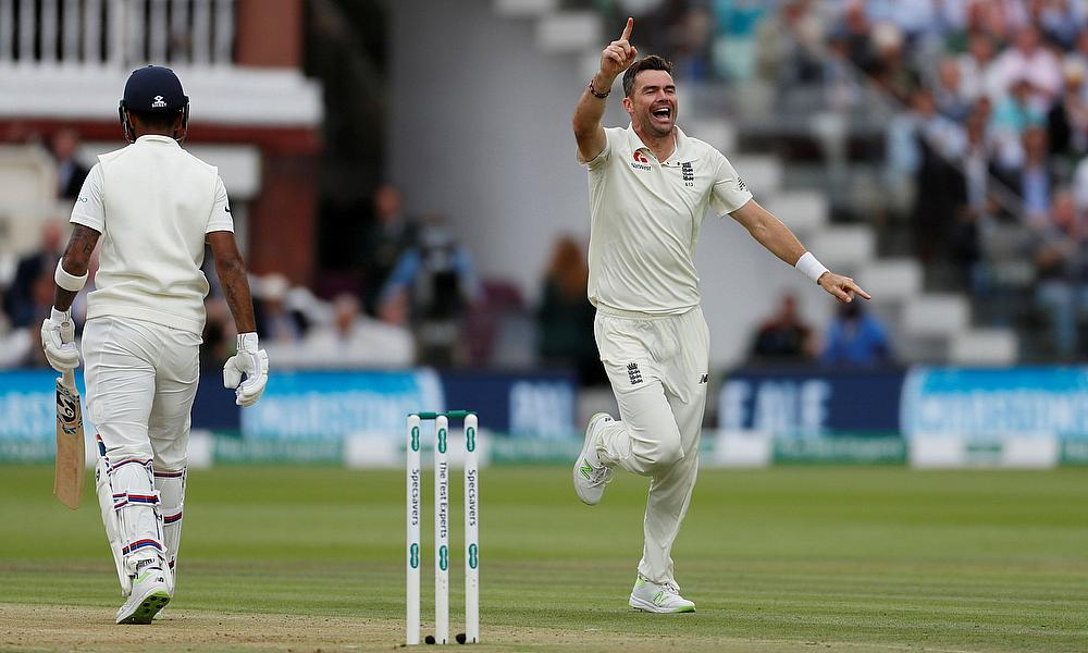 England's James Anderson celebrates after taking the wicket of India's KL Rahul