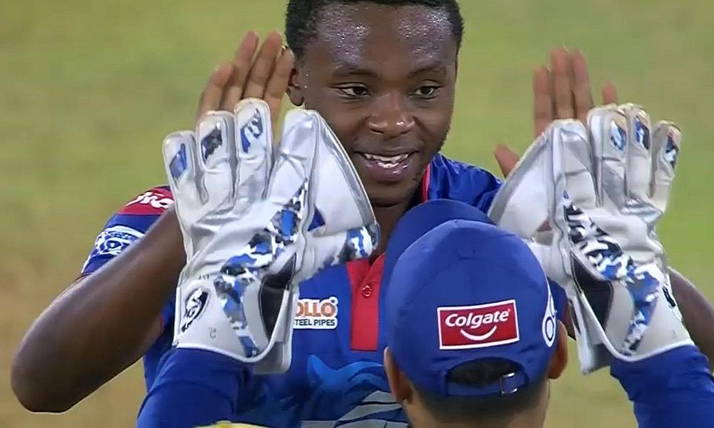 Kagiso Rabada celebrates  bowling Chris Gayle out