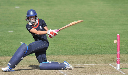 Caroline Atkins sweeps during her innings against India